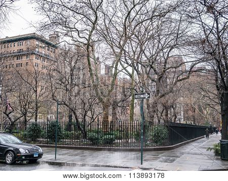NEW YORK USA - JANUARY 4 2015: Gramercy Park is a small private park located in NYC that needs a key to access to it.