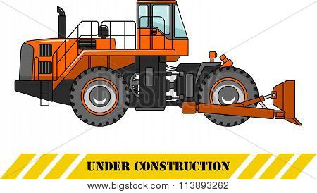 Wheel dozer. Heavy construction machine. Vector illustration