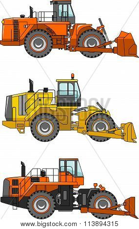 Set of wheel dozers isolated on white background in flat style. Heavy construction machines. Vector