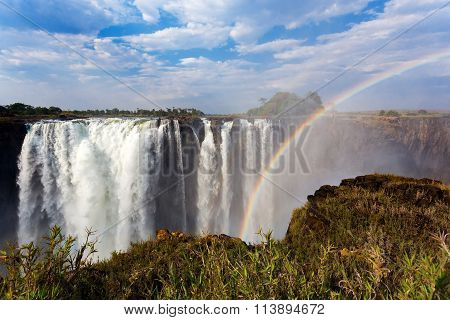 The Victoria Falls With Rainbow