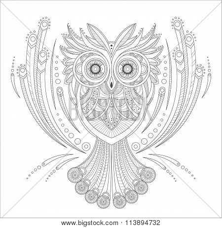 Zentangle Owl Coloring highly detailed isolated on white background, hand drawn illustrations. Vecto