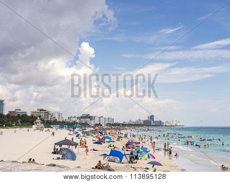 MIAMI USA - SEPTEMBER 5 2015. South Beach is a neighborhood of Miami Beach Florida.