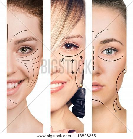 Three women smiling in plastic collage