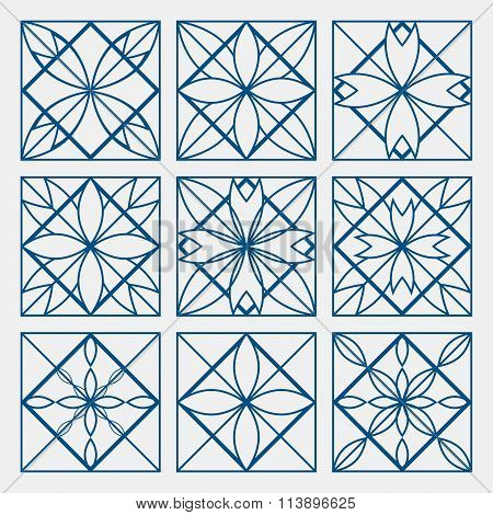 Lineart ornamental geometric symbols templates set