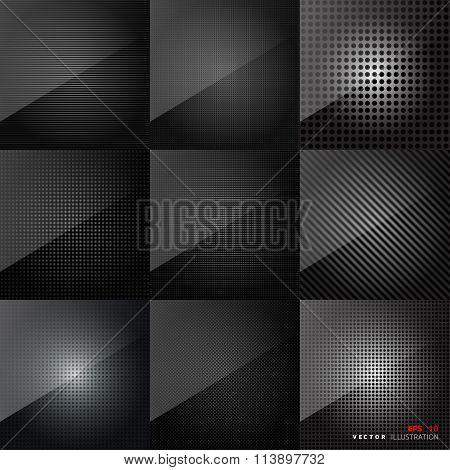 Carbon fiber texture. Abstract backgrounds set. Black surface.