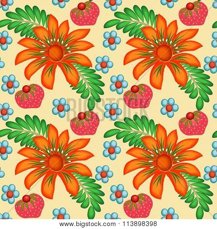 illustration background painted with flowers and berries