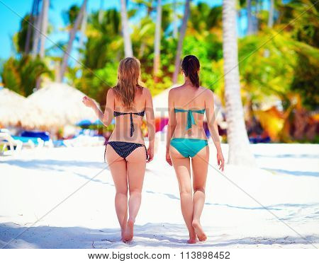 Young Women Walking On Tropical Beach, Summer Vacation