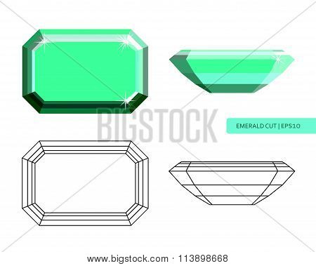 Emerald cut flat style illustration