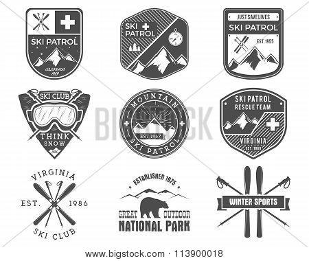 Set of Ski Club, Patrol Labels. Vintage Mountain winter sports explorer badges Outdoor adventure log