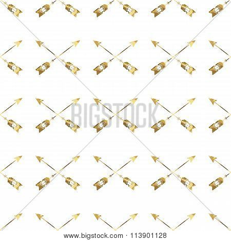 Seamless Pattern With Gold Arrows