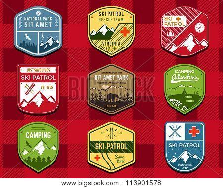 Set of Ski Club, Patrol Labels. Retro Mountain winter camping explorer badges. Outdoor adventure log