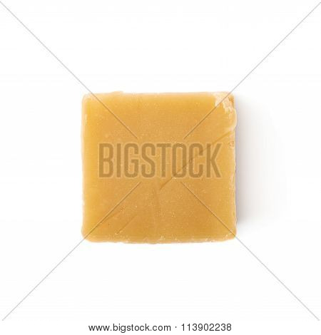 Almond butter toffee cube isolated