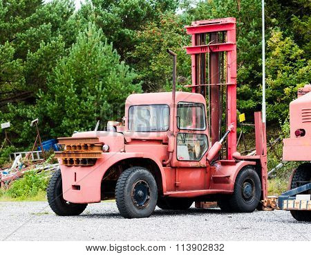 Old Vintage Boat Lift Truck