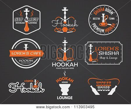 Hookah labels, badges and design elements collection. Vintage shisha logo. Lounge cafe emblem.  Arab