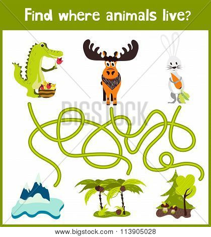 Fun And Colorful Puzzle Game For Children's Development Find Where The Elk, Crocodile And White