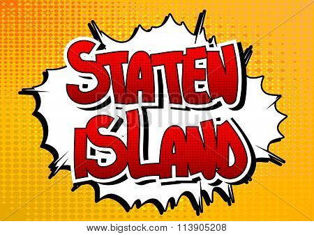 Staten Island - Comic Book Style Word.