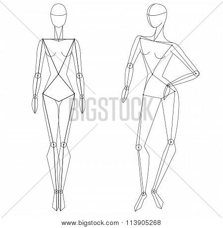 Technical vector woman figure static and in movement for fashion illustration and fashion designers.