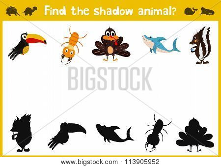 Cartoon Vector Illustration Of Education Shadow Matching Game For Preschool Children Need To Find Th