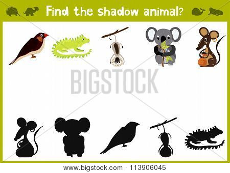 Cartoon Vector Illustration Of Education Shadow Matching Game For Preschool Children Find Shade For