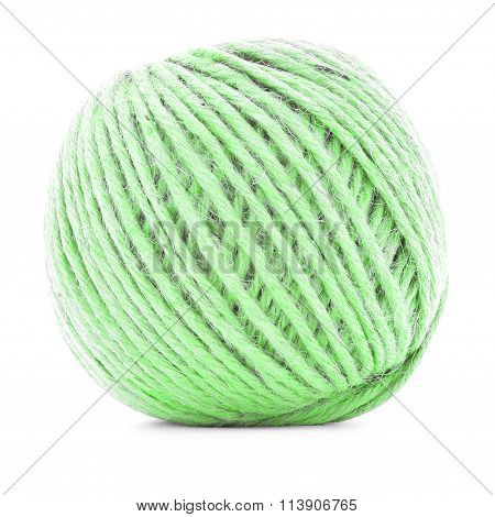 Green Braided Skein, Crochet Yarn Roll Isolated On White Background