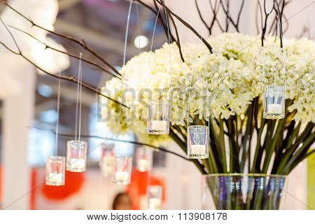 Beautiful flower and candle arrangement for wedding or event par