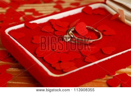 Ring With Small Red Hearts