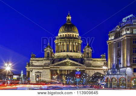 Saint isaac cathedral St. Petersburg, at night, during Christmas holidays.