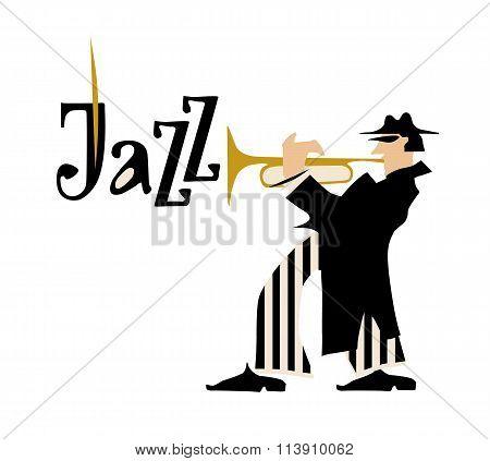 Man playng trumpet. Jazz inscription. Vector illustration.
