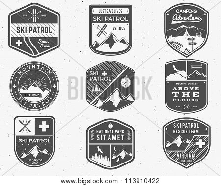 Set of Ski Club, Patrol Labels. Vintage Mountain winter camp explorer badges. Outdoor adventure logo