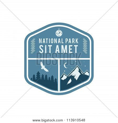 National park vintage badge. Mountain explorer label. Outdoor adventure logo design with eagle. Trav