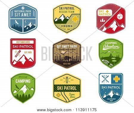 Set of Ski Club, Patrol Labels. Vintage Mountain winter camping explorer badges. Outdoor adventure l