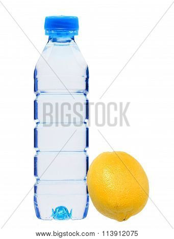 Blue Bottle With Water And Fresh Yellow Lemon Isolated On White