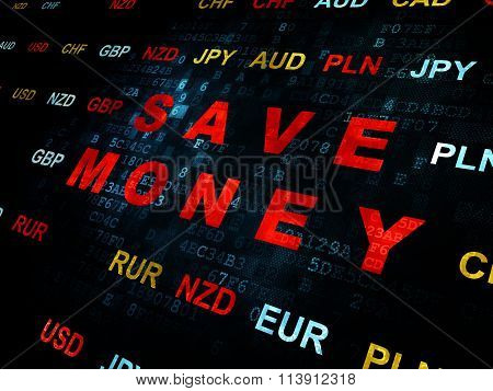 Currency concept: Save Money on Digital background