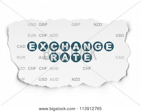 Currency concept: Exchange Rate on Torn Paper background
