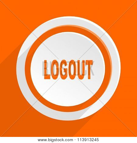 logout orange flat design modern icon for web and mobile app