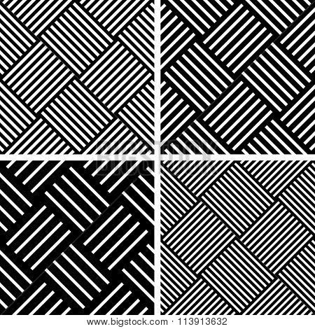 Seamless checked patterns set. Geometric diagonal textures. Vector art.