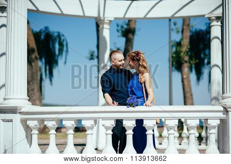 Lovely young couple looking at each other.
