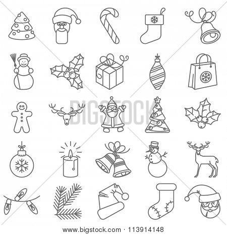 Thin line Christmas  and  the New Year vector icon set