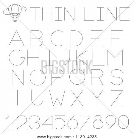 Thin line alphabet (uppercase). No fill, strokes only, easy to tune line weight.