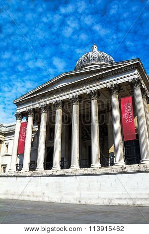 National Gallery In Trafalgar Square. London, UK