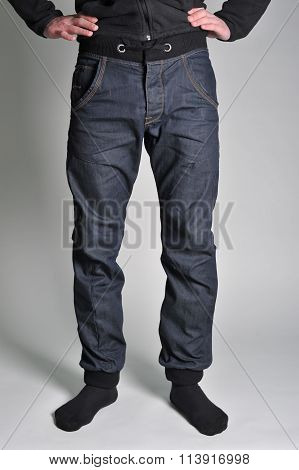 Youth jeans put on the guy