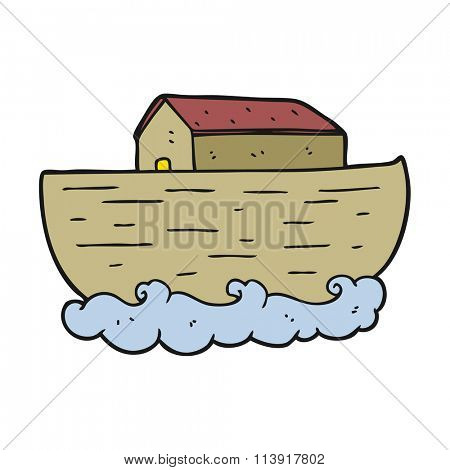 freehand drawn cartoon noah's ark