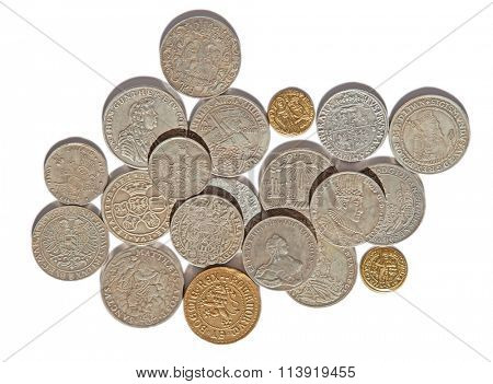 Collection of the medieval coins on the white background