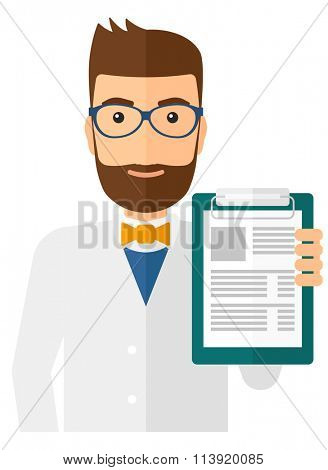Doctor holding medical notepad.