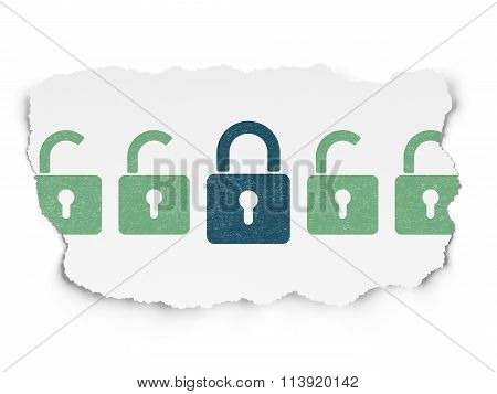 Security concept: closed padlock icon on Torn Paper background