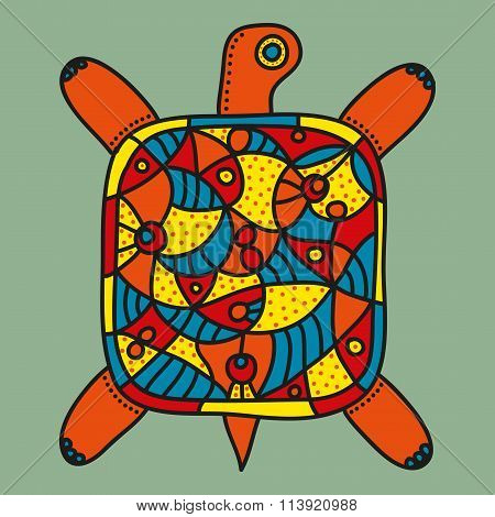 Decorative turtle with bright ornament on a grey background