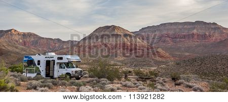 Motorhome On The Virgin River Canyon Campground