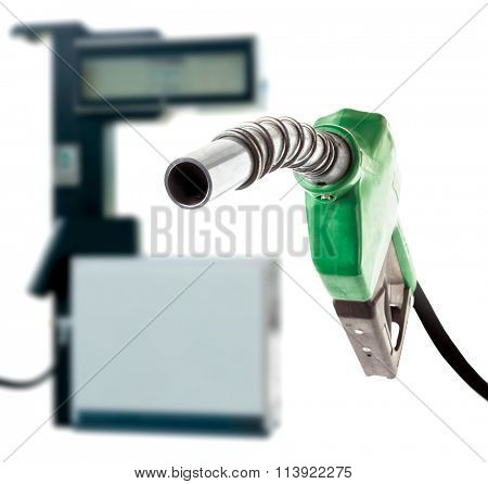 Green gas nozzle and the station on white background