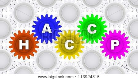Abbreviation HACCP. Word on the gears