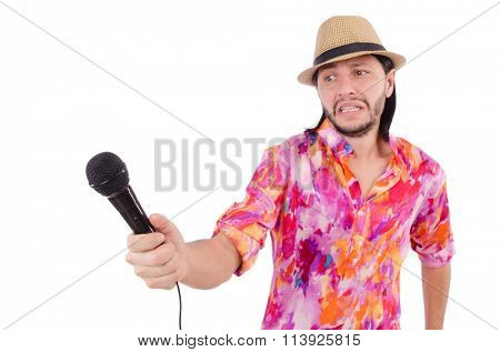 Man in colourful shirt isolated on white